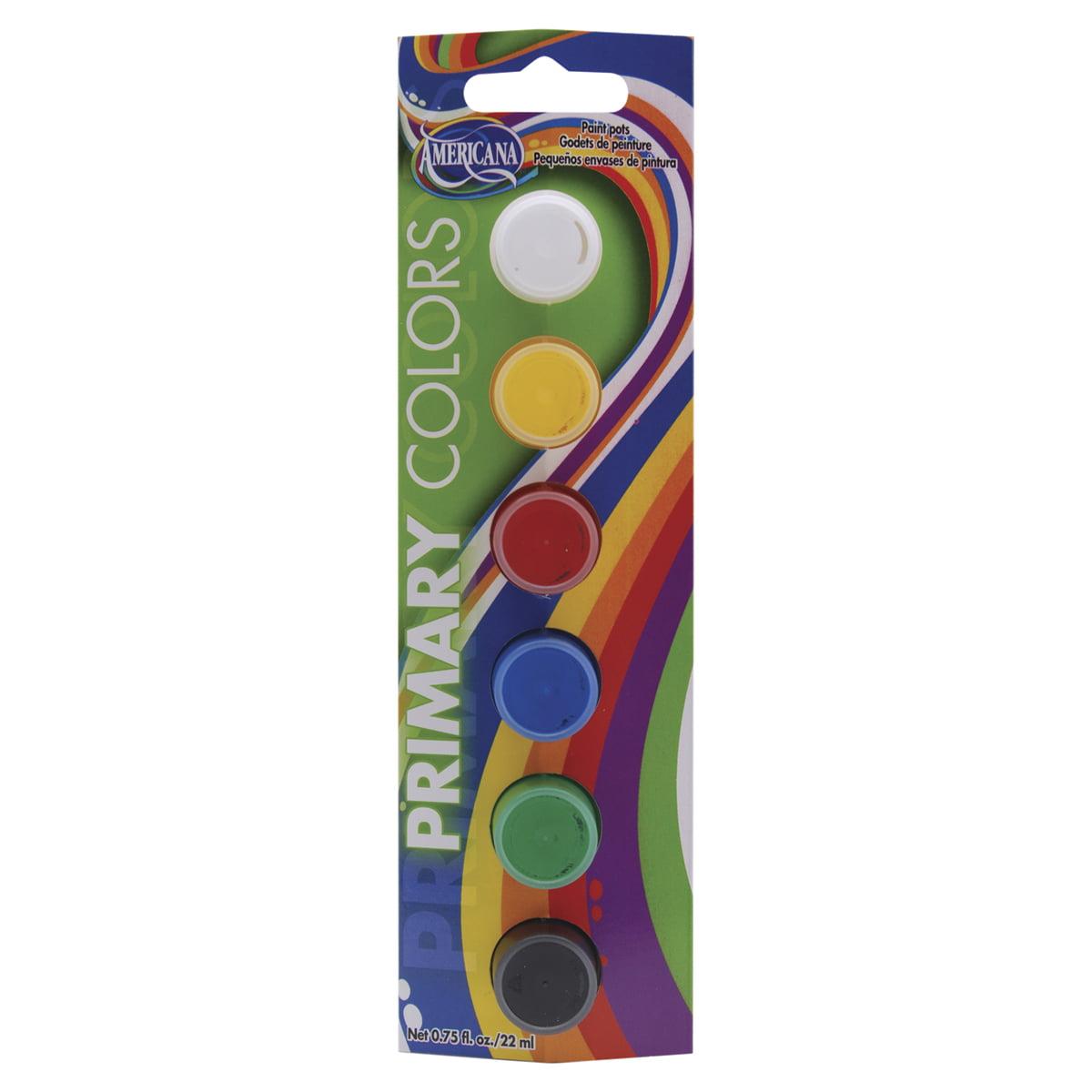 Americana Seasonal All-Purpose Acrylic Paint Pots 6/Pkg-Primary Colors