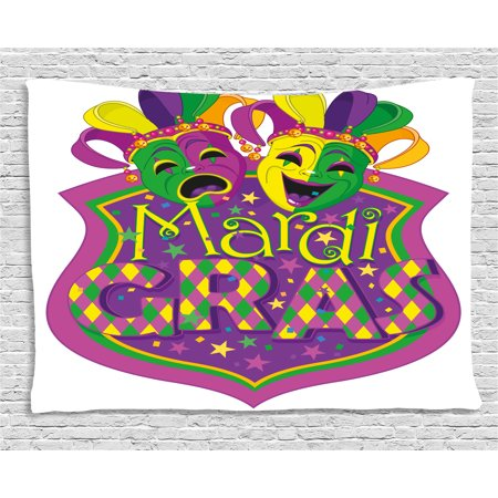 Mardi Gras Tapestry, Comedy and Tragedy Masks with Festive Mardi Gras Carnival Blazon Design, Wall Hanging for Bedroom Living Room Dorm Decor, 60W X 40L Inches, Purple Green Yellow, by Ambesonne](Tragedy And Comedy Masks)