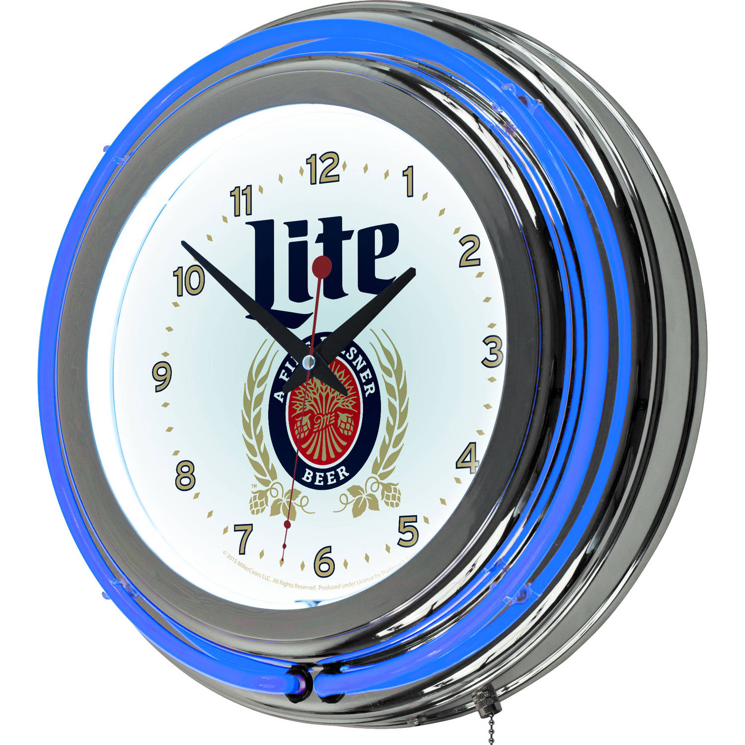 Miller Lite Chrome Double Rung Neon Clock, Retro Design
