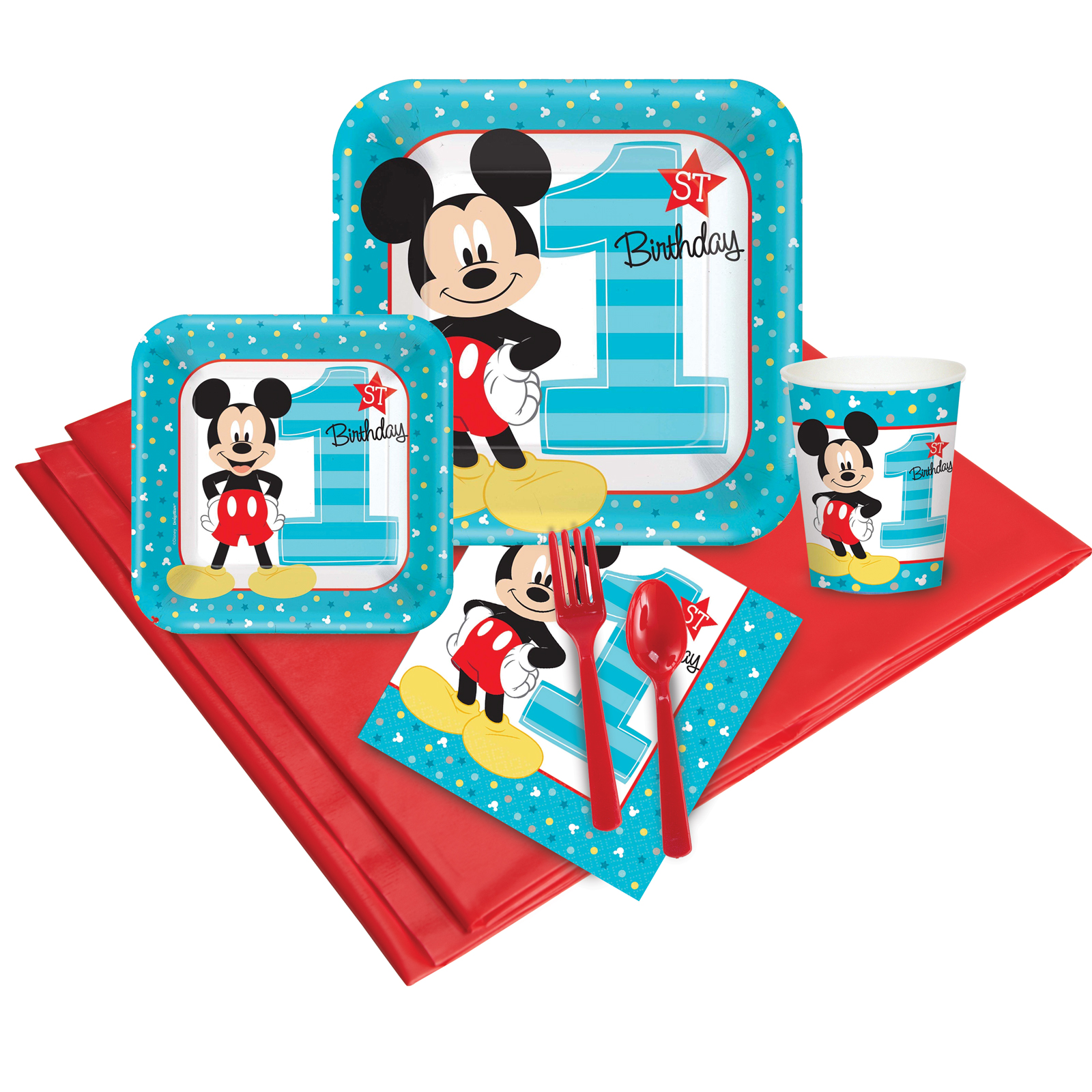 Mickey Mouse 1st Birthday Deluxe kit  Serves 8 Guests - Party Supplies