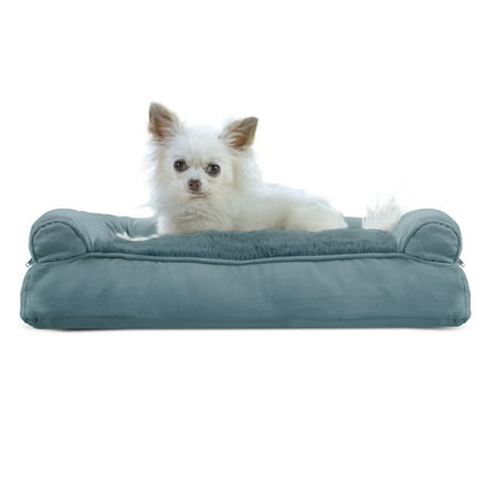 FurHaven Pet Dog Bed | Plush & Suede Pillow Sofa-Style Couch Pet Bed for Dogs & Cats, Deep Pool, Small