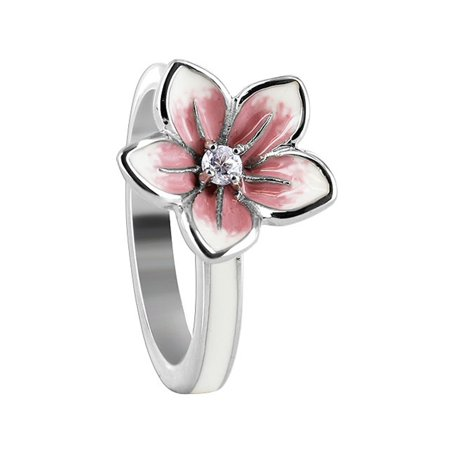 Gemstone Sterling Silver Flower Ring - Gem Avenue 925 Sterling Silver White and Pink Enamel Flower with Clear Cubic Zirconia Ring