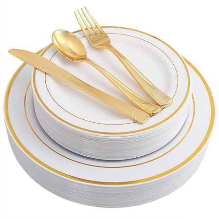 750 Pieces Plastic WHITE w/GOLD Band China Plates and Gold Silverware Combo for 150