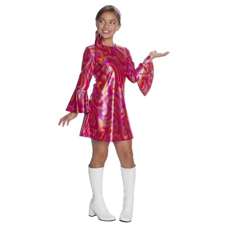 Girls Fuschia Swirl Disco Diva Costume - Disco Girl Outfit