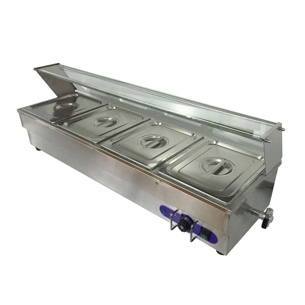 4-Pan Buffet Bain-Marie Food Warmer Steam Table 1500W 110V Restaurant Warming…