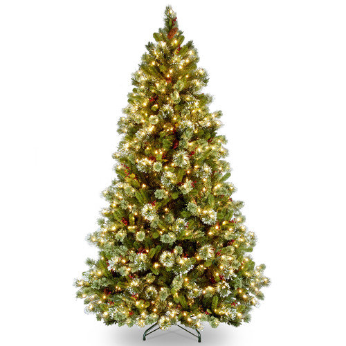 National Tree Pre-Lit 7-1/2' Wintry Pine Medium Hinged Artificial Christmas Tree with 650 Clear Lights
