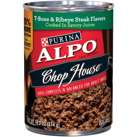 ALPO Chop House T-Bone & Ribeye Steak Flavor In Gourmet Gravy Wet Dog Food, 13.2-Oz, Case of (10 Ounce Ribeye)