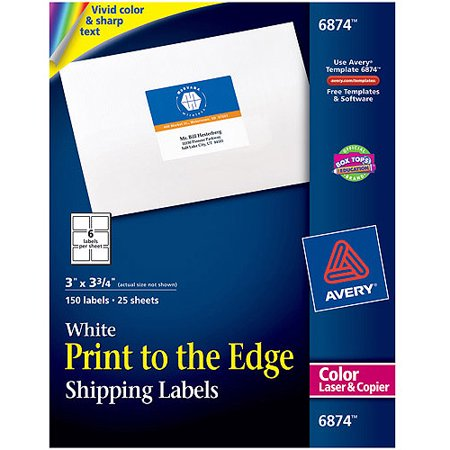 Avery(R) Print-to-the-Edge Shipping Labels for Color Laser Printers and Copiers 6874, 3