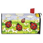 Springtime Ladybugs Seasonal Large Magnetic Mailbox Cover Daisies Oversized