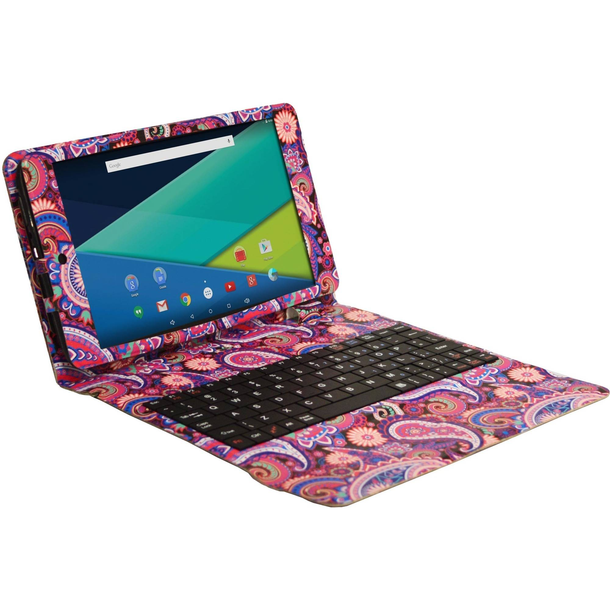 "Visual Land Prestige 8"" IPS Quad Core Intel 64 Bit Tablet 16GB includes Designer Keyboard Case - Paisley"