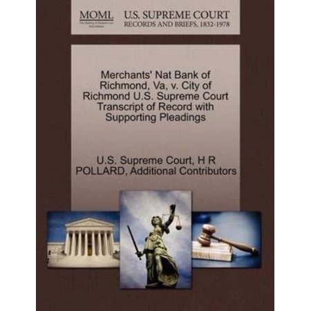 Merchants Nat Bank Of Richmond  Va  V  City Of Richmond U S  Supreme Court Transcript Of Record With Supporting Pleadings