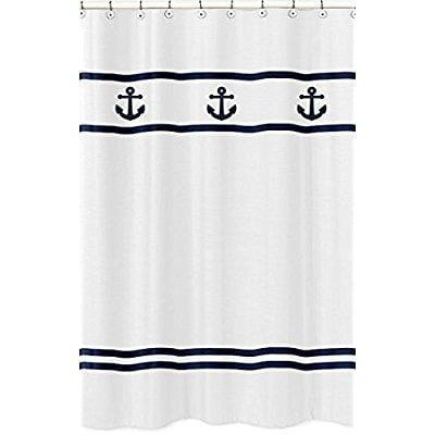 anchors away nautical navy and white kids bathroom fabric bath shower curtain