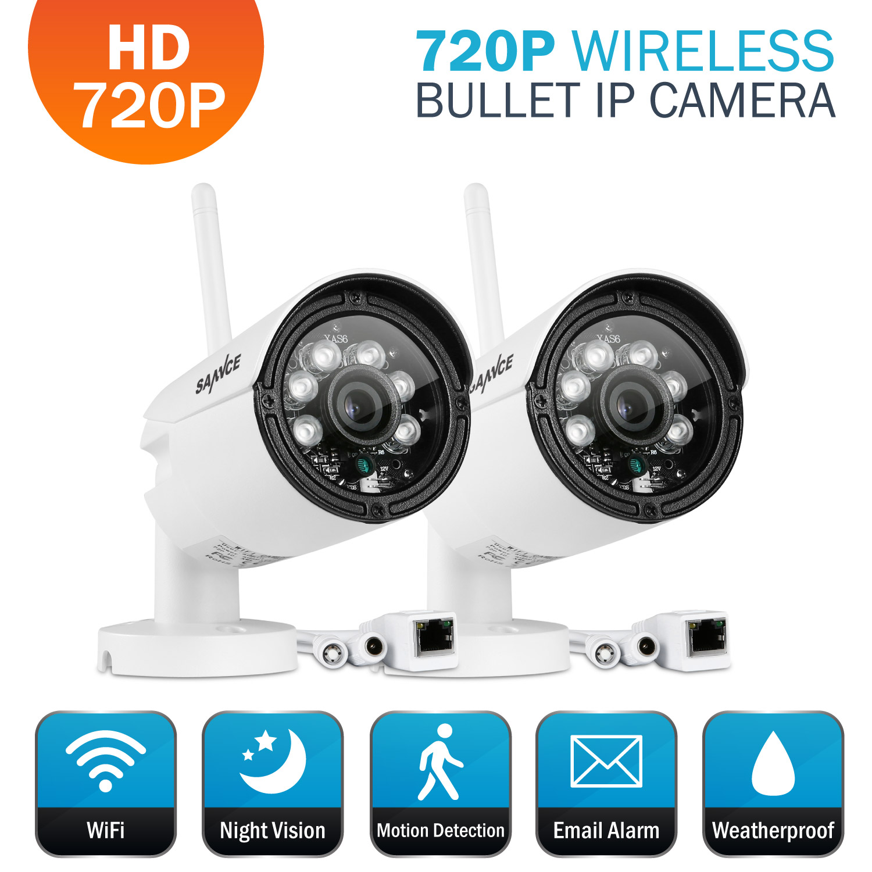 2Pcs Sannce Wireless Cameras Waterproof Outdoor 720P Bull...