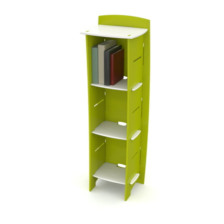 Legare Kids Bookcase, No Tools Assembly, 3-Shelves, Lime Green and