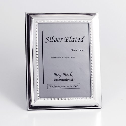 Bey-Berk Silver-Plated Beaded Edge 8 x 10 in. Photo Frame - Tarnish Proof