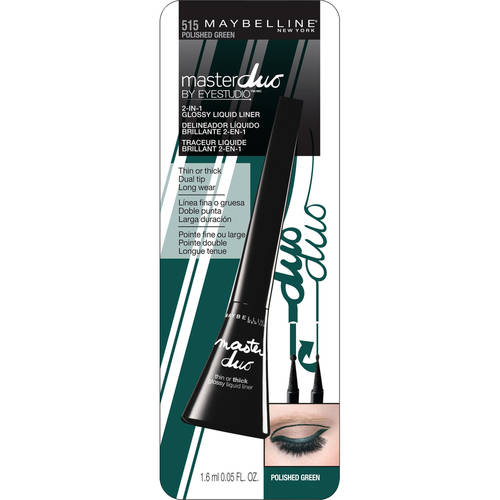 Maybellineï ï ï New York Maybelline Master Duo Eye Studio Glossy 2 - in - 1 Liquid Liner, 0.05 fl oz, Polished Green
