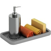 Comfify Kitchen Sink Caddy  Tray Organizer for Your Soap, Sponge, Scrubber & More  Multi-use Silicone Tray - Non-Slip, Heat Resistant and Dishwasher Safe  Red, Blue or Grey Dish Sponge