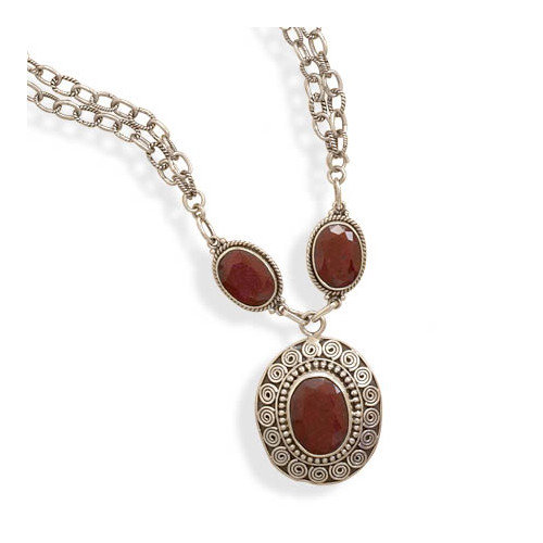 Jewelryweb Sterling Silver 16.5 Inch+2 InchExtention Double Strand Necklace With Rough-cut Rubies