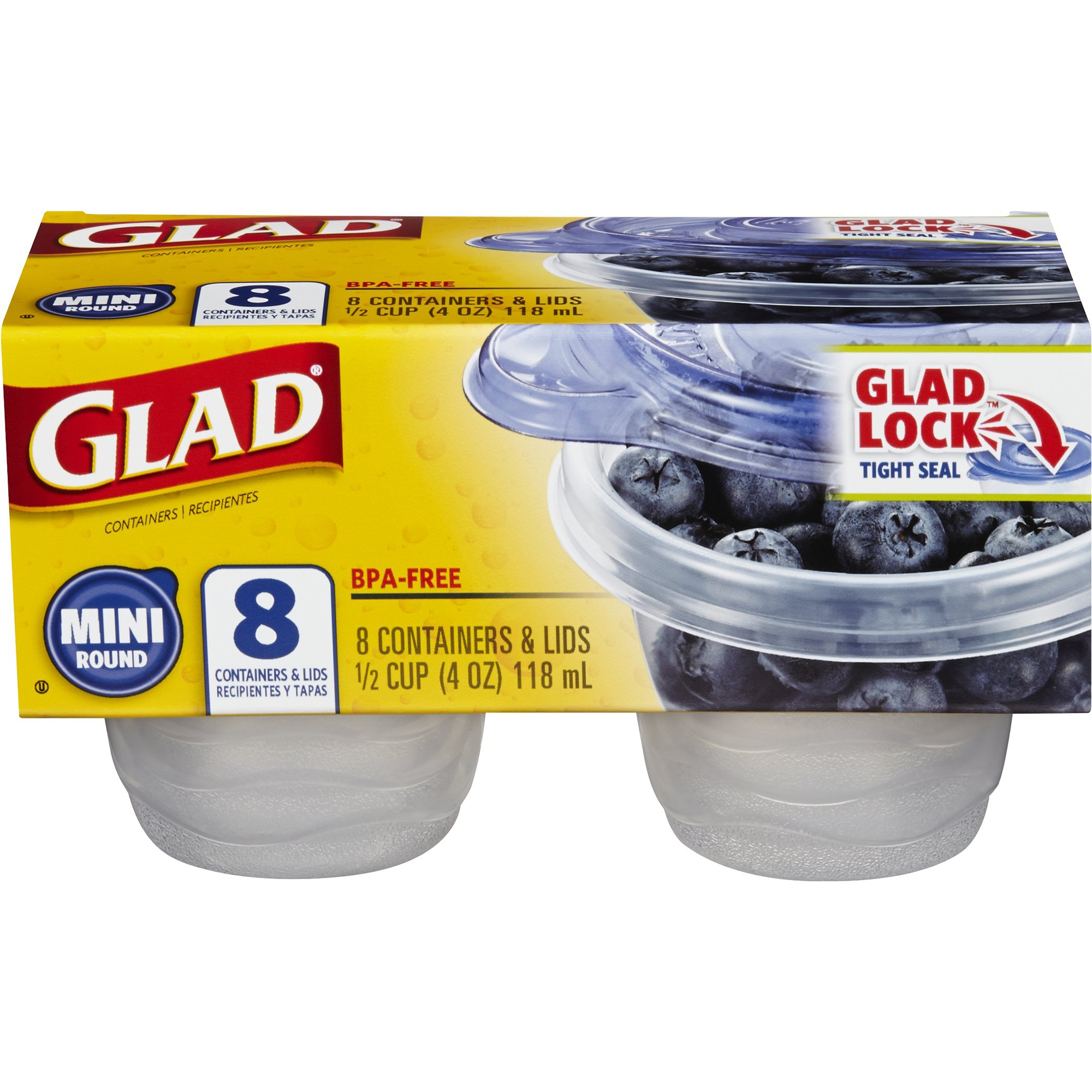 Glad Food Storage Containers, Mini Round Containers, 4 oz, 8 ct