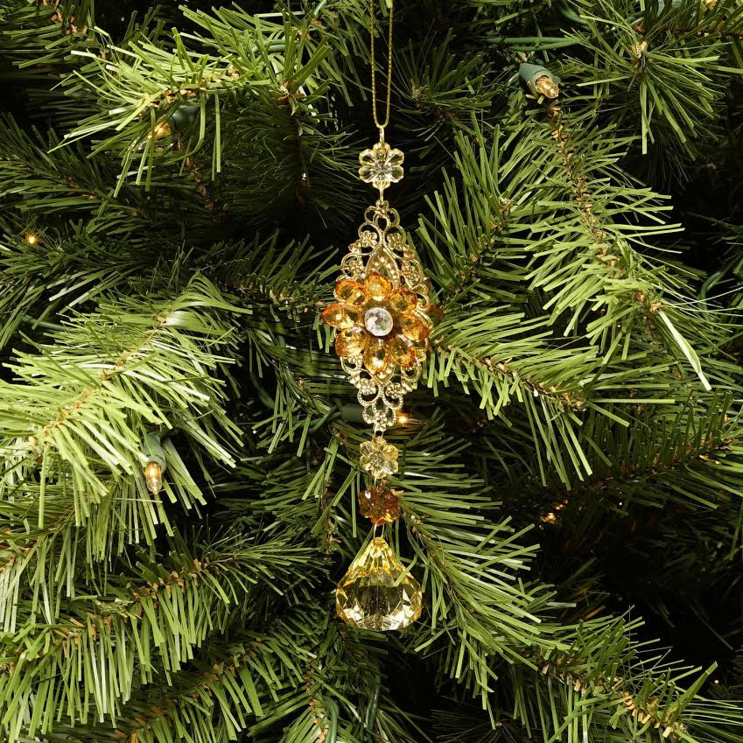 "7"" Luxury Lodge Gold with Amber and Honey Flower Drop Christmas Ornament - image 1 de 2"
