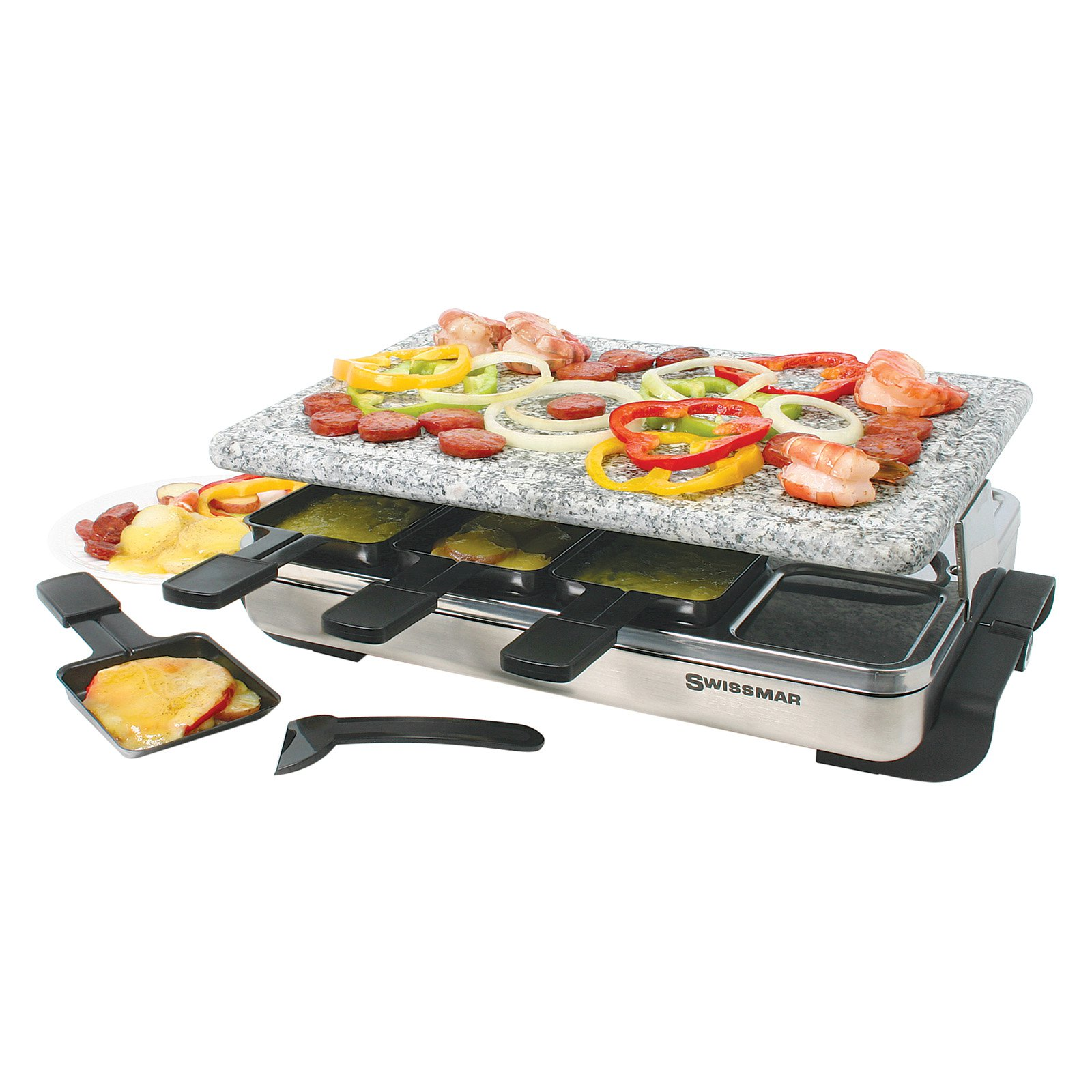 Swissmar Stelvio Raclette 8 Person Party Grill - Granite Stone and Stainless Steel