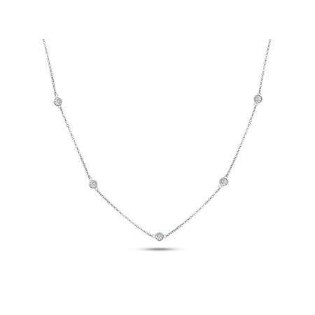 "20"" 925 Sterling Silver CZ By The Yard Round Cut Cubic Zirconia Chain Necklace"