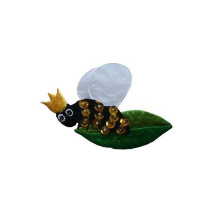 Bee Craft - ID 0394 Queen Bee On Leaf Patch Royal Bug Craft Embroidered Iron On Applique