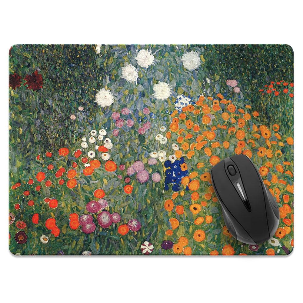 FINCIBO X-Large Size Rectangle Standard Mouse Pad, Gustav Klimt Flower Garden