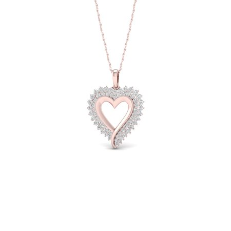 1/2Ct TDW Diamond 10K Rose Gold Heart Necklace