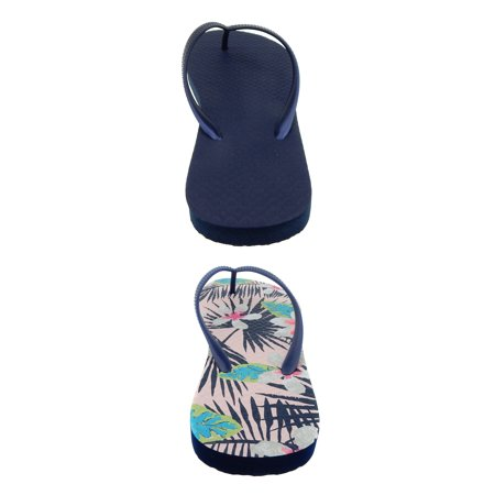 Women's Time And Tru Hibiscus Print 2 Pack Flip Flop