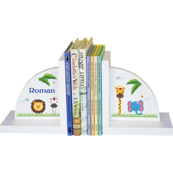 Personalized Jungle Animals Childrens Bookends