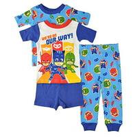 PJMASKS PJ Masks Little Boys Toddler Charcter Print 4-Piece Snug Fit Cotton Pajama Set, 4T