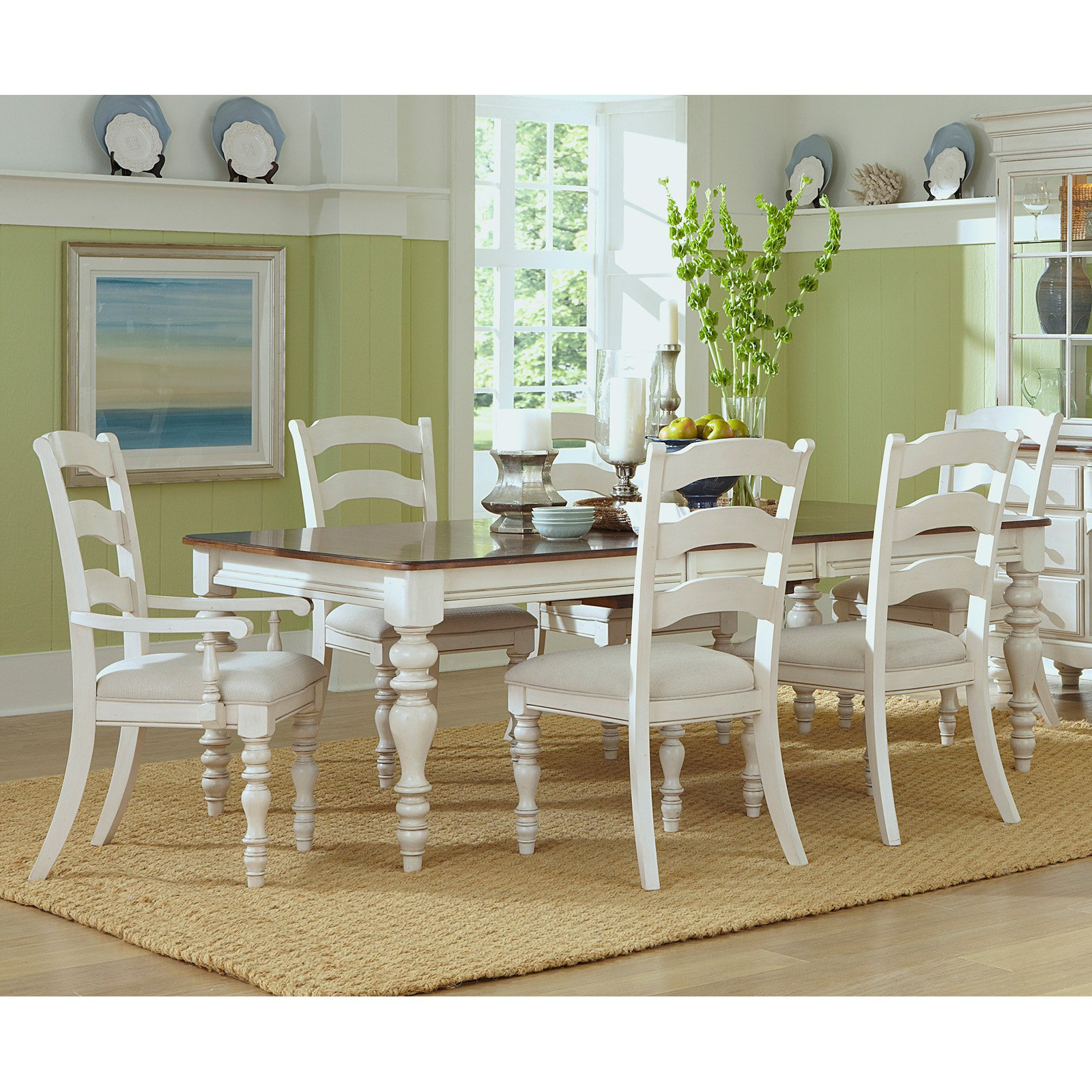 Hillsdale Furniture Pine Island 7 Piece Dining Set, With Ladder Back Chairs