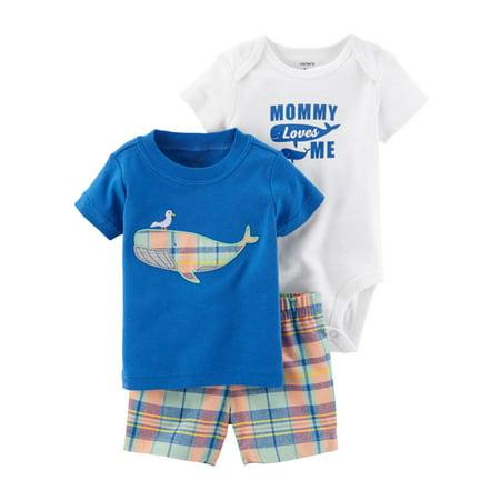 Carters Infant Boys Plaid & Blue Whales Baby Outfits Bodysuit Shirt & Shorts (Plaid Onesie)
