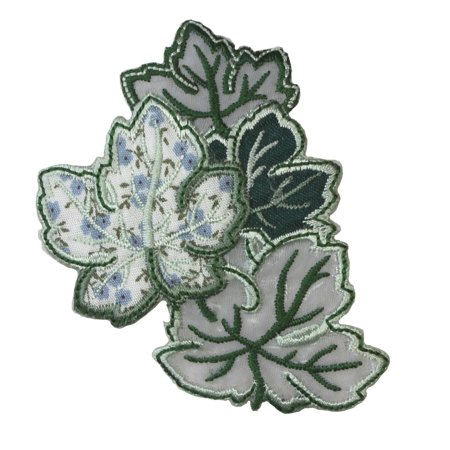 ID 1381 Group of Leaves Patch Summer Green Craft Embroidered Iron On Applique
