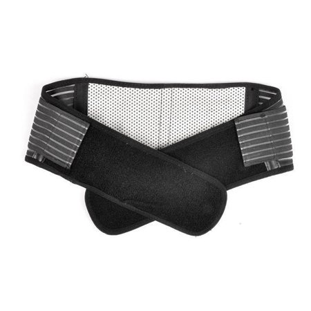 Portable Adjustable Elastic Infrared Self Heating Magnetic Therapy Back Waist Support Lumbar Brace Belt Double Pull Strap Lower Pain Massager   Size Xl  Black
