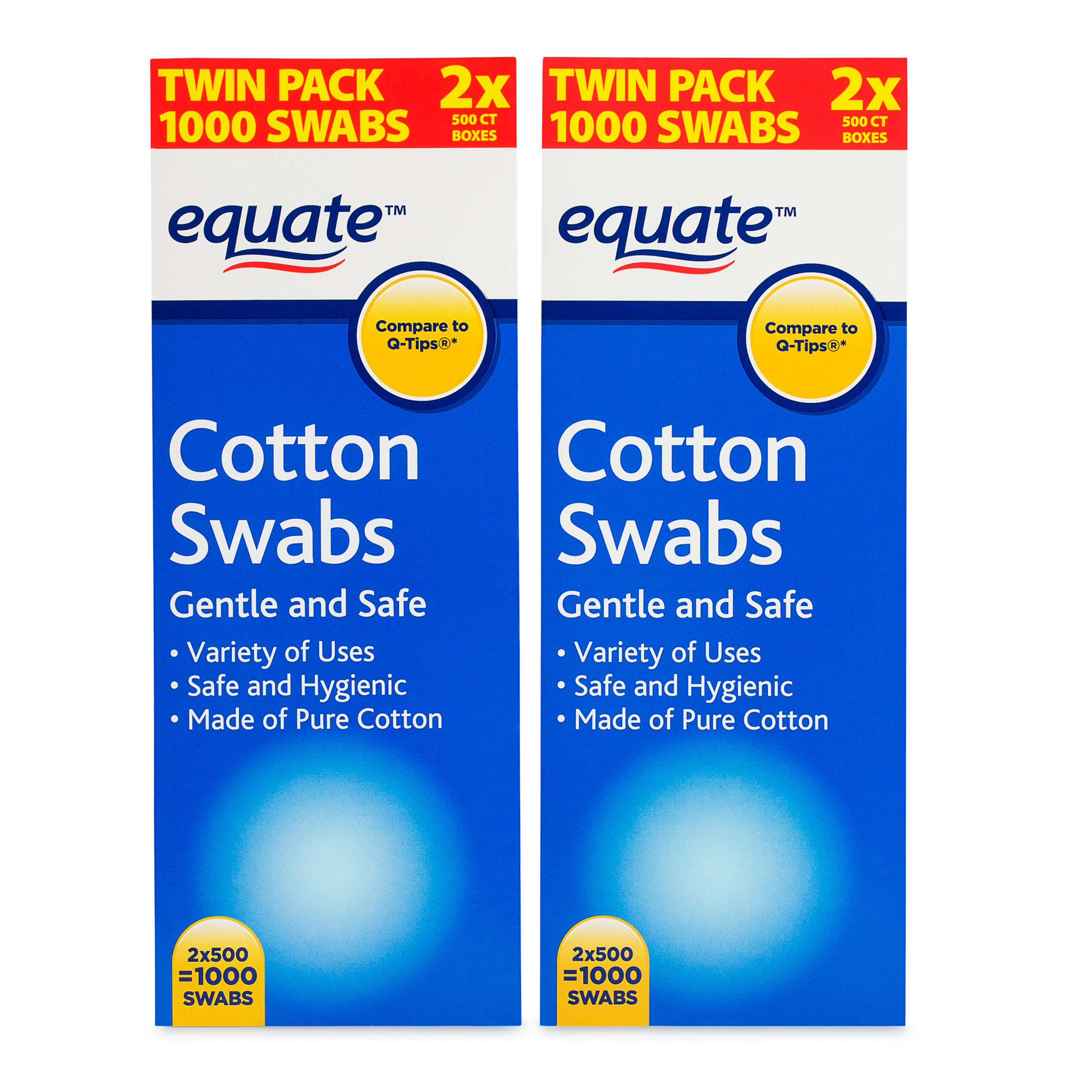 Equate Cotton Swabs, 500 Ct, 2 Pk