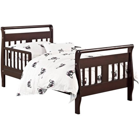 Baby Relax Sleigh Toddler Bed With Bed Rails, Espresso