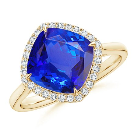 December Birthstone Ring - Claw-Set Cushion Tanzanite Cocktail Halo Ring in 14K Yellow Gold (9mm Tanzanite) - SR1073TD-YG-AAA-9-13