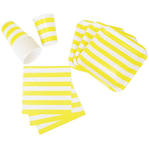 Just Artifacts Disposable Party Tableware 44pcs Striped Pattern Dining Set (Square Plates, Cups, Napkins) - Color: Yellow - Decorative Tableware for Parties, Baby Showers, and Life Celebrations!