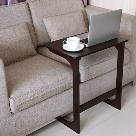 Bamboo Sofa Side Table L-shaped Bamboo Wood Snack Table Coffee End Table Bed Side Table Laptop Desk TV Tray for Eating Reading Bedroom Living