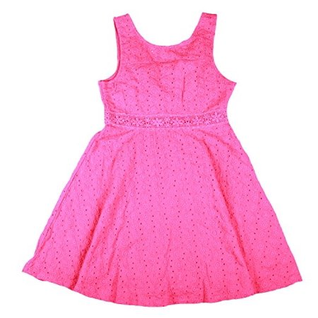 Guess Big Girls Sleeveless Cotton Eyelet Dress (12, Dark - Girls Eyelet Dress