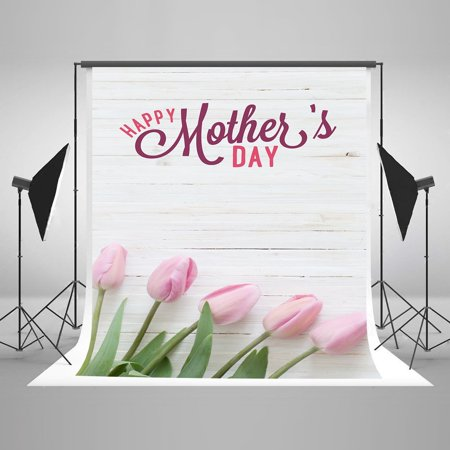 GreenDecor Polyster 5x7ft Happy Mother's Day Photography Backdrop White Wood Wall Photo Background Flowers Photography Props Kids - Diy Photography Props