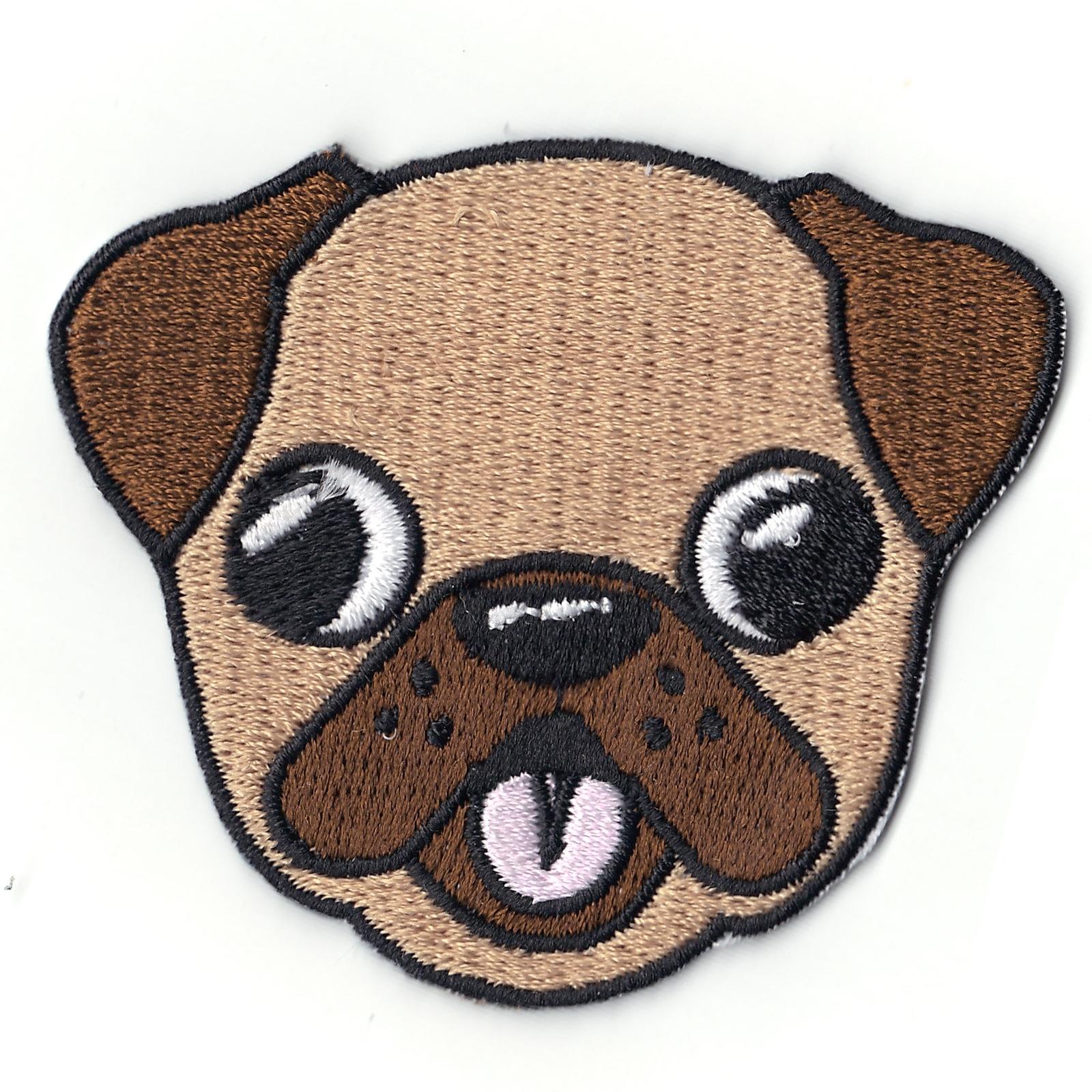 Pug Emoji Iron On Patch