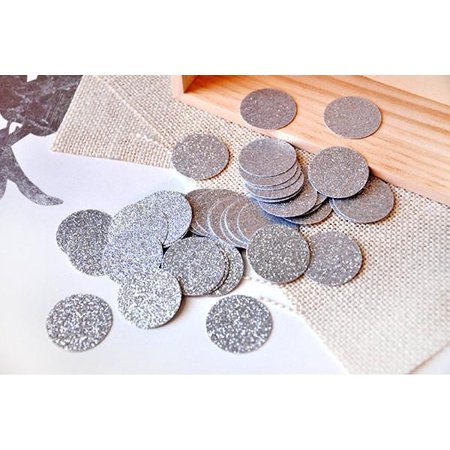 Silver Confetti Circles 1 Inch Pack of 50.  Ships in 1-3 Business Days.  Glitter Confetti Circles. (50 Confetti)