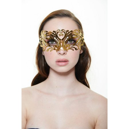 KAYSO INC BC002GD CLASSIC VENETIAN MASQUERADE MASK WITH RHINESTONES (GOLD WITH CLEAR RHINESTONES)