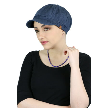 Newsboy Cap for Women Cabbie Gatsby Summer Hats Ladies Chemo Headwear Head Coverings Denim Indigo](Great Gatsby Attire For Ladies)