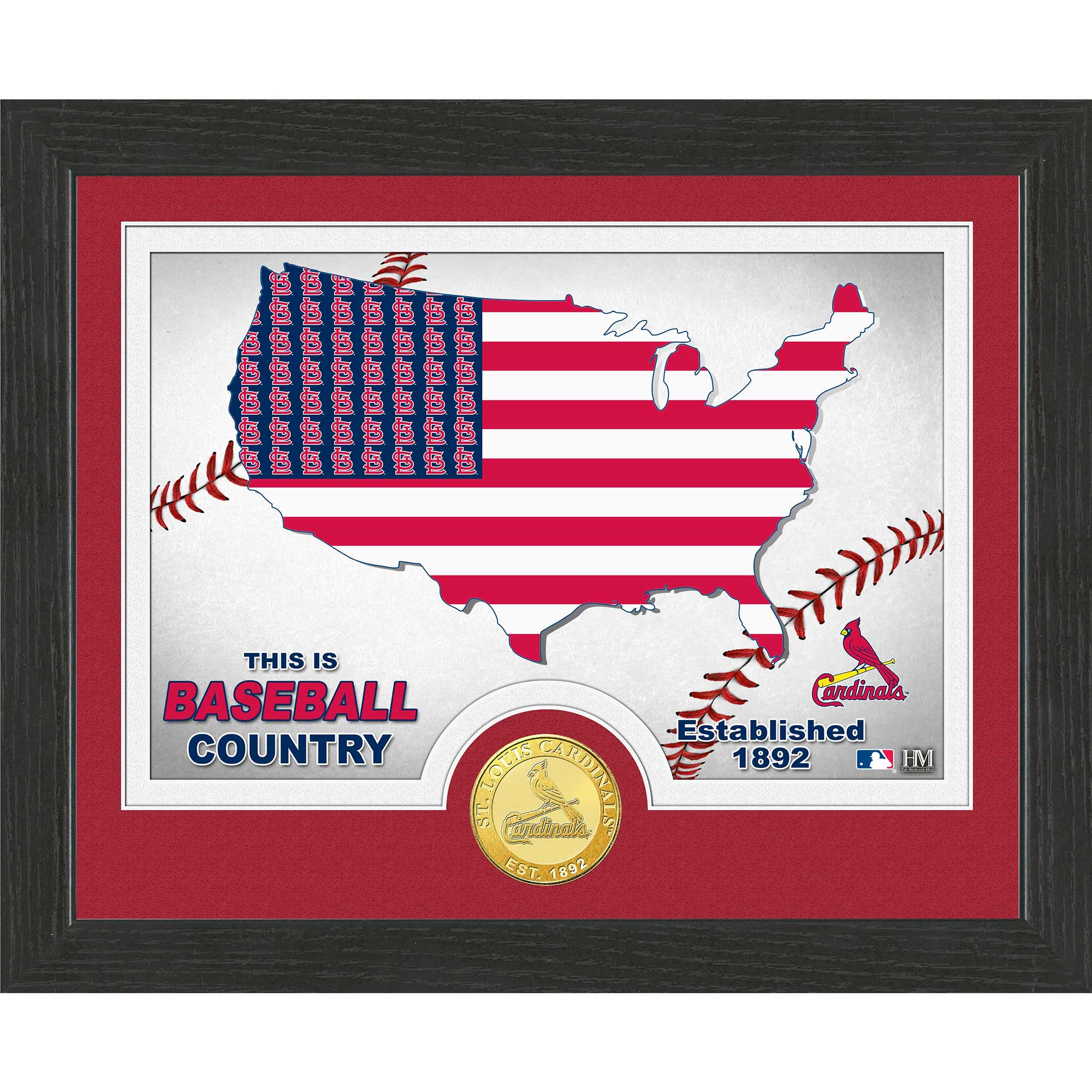 """St. Louis Cardinals Highland Mint 9"""" x 11"""" Country Photomint - No Size"""