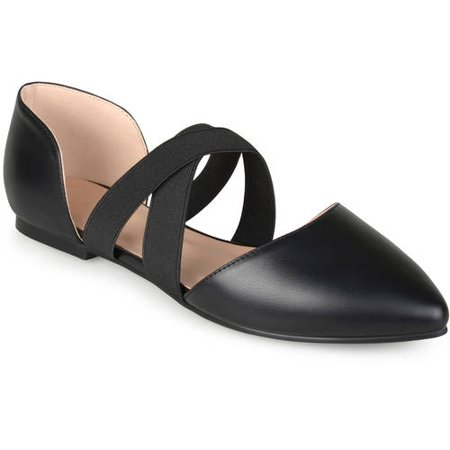 Womens Pointed Toe Faux Leather Criss Cross Flats