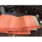 Mogul Indian Sari Curtains Peach Sheer Organza Drapes Panel Window Treatment
